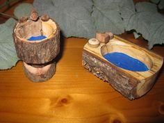 fairy house bathtub | Natural wood fairy bathtub and sink