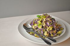 cabbage, chicken, bacon, apples in creamy avocado dressing