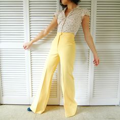 VINTAGE 1970s Pale Yellow High Waisted Bell Bottom Pants for Her - Women's Retro Fashion....// I used to wear these. Mine were red and white checked. Loved them!  K.