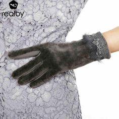 #DealOfTheDay #BestPrice REALBY Femme Rabbit Fur design Gloves For Winter Gloves Brand Mitten Touch-screen Women Gloves Female Gloves warm…