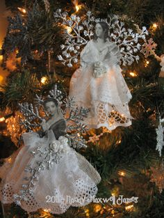 ≈DIY::Gorgeous Snow Angels - love the #Vintage Faces on these - #ChristmasDecoration #Crafts #Angels - pb≈