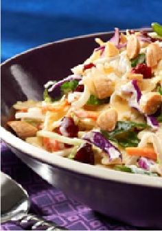 Broccoli Slaw Bow-Tie Salad – It's one party broccoli slaw, one part pasta salad. And with cranberries and almonds, everyone will find something to like about this sweet side dish.