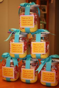"""Great gift idea...jar filled with """"smarties"""" and """"sharpies""""..perfect for a teacher. Little Pumpkin Grace is a great website."""