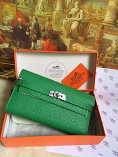2016 Hermes Small Leather Goods Outlet With Free Shipping-Hermes Kelly Wallet in Malachite Grained Leather