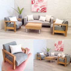 Custom made modern miniatures livingroom .for 1:12 scale dolls house - find Mad Missy Minis on IG , FB & Etsy