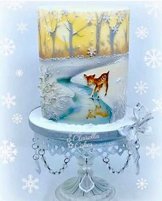 Sunset Christmas Cake Class - Airbrushing & handpainted by Clairella Cakes. Inspired by a vintage Christmas Card design. Crazy Cakes, Fancy Cakes, Gorgeous Cakes, Pretty Cakes, Amazing Cakes, Christmas Themed Cake, Christmas Desserts, Christmas Cakes, Winter Torte