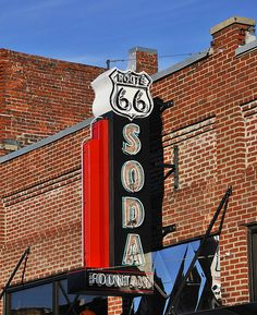 Route 66 SODA FOUNTAIN by FotoEdge, via Flickr Route 66 Usa, Old Route 66, Route 66 Road Trip, Historic Route 66, Travel Route, Travel Oklahoma, Rv Travel, Road Routes, Vintage Neon Signs