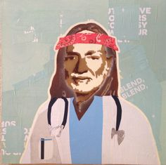WILLIE AS DOCTOR -- 12 x 12in -- Mixed Media on Board -- CONTACT: annegenung@gmail.com