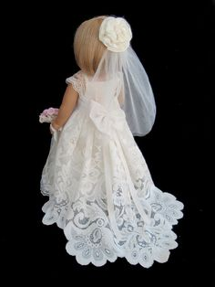 American Girl Doll Clothes Ivory Lace Wedding Gown by SewSoNancy