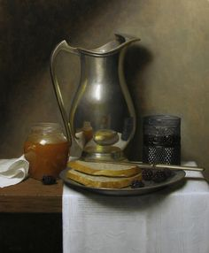Justin Wood Still Life With Bread And Blackberries Food Painting, Bottle Painting, Painting & Drawing, Still Life Images, Still Life Art, Still Life Pencil Shading, Classical Realism, Painting Competition, Great Works Of Art