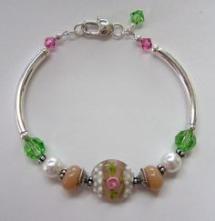 Sterling Silver, Crystal, and Lampwork Bracelet-sterling silver, pink, lampwork bead, swarovski crystal, heart, pearl, glass