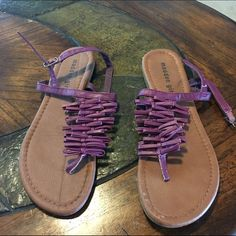 Madden Girl purple sandals Madden Girl purple sandals size Worn once. Fit a little small. I'm usually a but took a 7 in these. Weird line down the footbed of one of them as pictured. It was there when I purchased them. Purple Sandals, Fashion Tips, Fashion Design, Fashion Trends, Weird, Take That, Best Deals, Fit, Womens Fashion