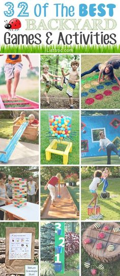 32 Of The Best DIY Backyard Games And Activities. This looks like a lot of fun! Upsetting when you don't have a backyard though. Fun Outdoor Games, Outdoor Play, Kids Outdoor Activities, Outdoor Games For Toddlers, Outside Games For Kids, Picnic Games, Outdoor Toys, Camping Activities, Sports Activities