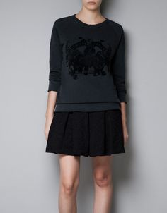 FLOCKED PRINTED SWEATSHIRT - TRF - New this week - ZARA