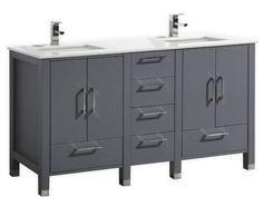 60 inch Matt Gray Contemporary Double Sink Bathroom Vanity