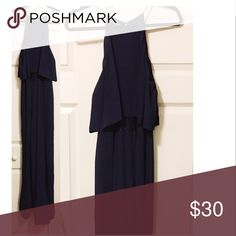 F21 Jumpsuit Navy blue jumpsuit has a lace underneath and bell bottoms Pants Jumpsuits & Rompers