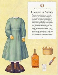 Kirsten Paper Dolls an AMERICAN GIRL by Pleasant Company Publications, 1994: Page 7 (of 26). Even pages are the backs of odds and contain description of outfit and possibly book page (1 through 20)