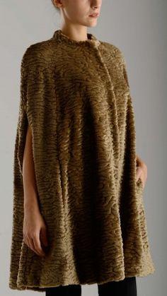 Astrakhan faux fur cape
