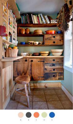 cuisine dans ce genre, avec des étagères, placards, plan de travail, parfait!