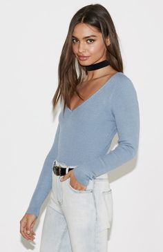 Double V-Neck Fitted Sweater Top