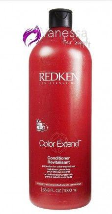 Redken Color Extend Conditioner 1 Lit. (Protección para el cabello teñido):  BENEFICIOS: Humecta, desenreda y protege el cabello de los agentes que deslavan el color además de restaurar su apariencia vibrante.  CÓMO SE UTILIZA: Después del shampoo, aplicar y distribuir en todo el cabello. Enjuagar.  Pedidos: www.vanessahairsupply.com