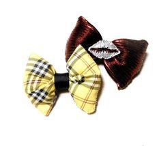 Yellow Plaid CLUELESS & Metallic Silver KISS Hair Bow // Barrette // Hair Accessories
