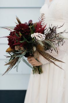 Lux & Union is a creative floral design studio based in Charleston, SC., specializing in wedding and special event floral work. Feather Bouquet, Dahlias, Charleston, Special Events, Feathers, Christmas Wreaths, Floral Design, Burgundy, Bridal