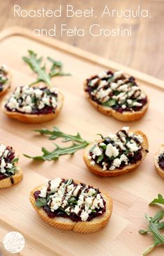 Roasted Beet, Arugula & Feta Crostini l www.a-kitchen-addiction.com #BeetTheOdds #AmericanHeartMonth @Adrienne Raptis Beets