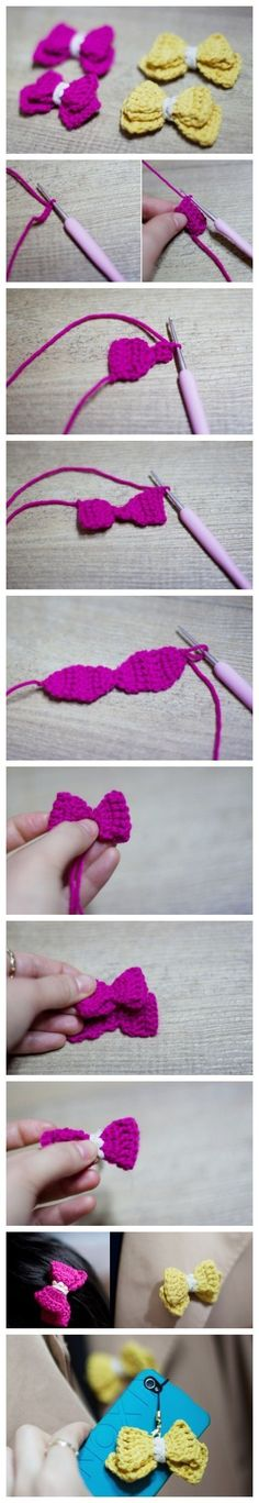 Crocheted bows ༺✿ƬⱤღ  https://www.pinterest.com/teretegui/✿༻