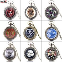 #Steampunk skull vintage pocket watch quartz necklace #pendant chain gift #retro,  View more on the LINK: http://www.zeppy.io/product/gb/2/281896302050/