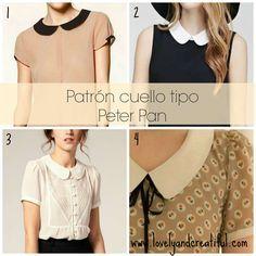 Cómo dibujar el patrón de cuello tipo Peter Pan o tipo bebé y cómo coser este cuello en una blusa.
