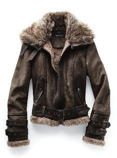 Resultado de imagen para burberry jacket leather con borrega aviator