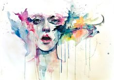 """""""Agnes Cecile"""" is a pseudonym for Italian artist Silvia Pelissero. Born in Rome in girl sing song bird watercolor painting art portrait face design drips dribble splash splatter paint Watercolor Art Face, Watercolor Art Landscape, Watercolor Art Paintings, Watercolor Portraits, Watercolors, Painting Art, Abstract Portrait, Watercolor Tattoos, Portrait Paintings"""