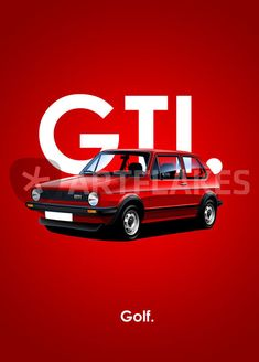 """Golf GTI Poster Illustration"" Graphic/Illustration art prints and posters by Russell Wallis - ARTFLAKES.COM"