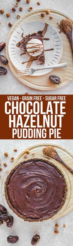 This Chocolate Hazelnut Pudding Pie tastes like healthy Nutella! Vegan, Gluten Free, Grain Free, and only 6 Ingredients #vegan #plantbased #grainfree #pie #puddingpie #chocolate #dessert #hazelnut