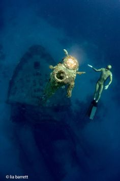 Freediving world record holder (128 meters) and world champion Alexey Molchanov, having a little fun on the El Aguila wreck off Roatan, Honduras after winning the Caribbean Cup with a 123 meter Constant Weight dive (monofin)
