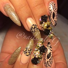 Nude Gold Cheetah Black Bling Freehand Almond Stiletto Nail Art @nailsyulieg