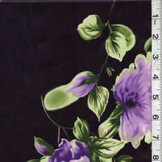 """Black Floral Satin  Shades of Lavender, Lilac, Plum, Sage, Light Green, Forest, Tan, Brown & White  Tossed Peony Print  on Black Satin Fabric  Suitable for Dresses & Blouses  100% Polyester  59"""" wide  Machine Washable"""