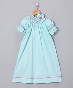 Aqua Flower Smocked Bishop Dress - Toddler & Girls by Little Belles & Beaus on #zulily today!