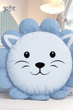 Round Cushion Little Blue Lion Cute Pillows, Baby Pillows, Kids Pillows, Sewing Toys, Sewing Crafts, Baby Crafts, Diy And Crafts, Cushion Cover Designs, Cat Cushion