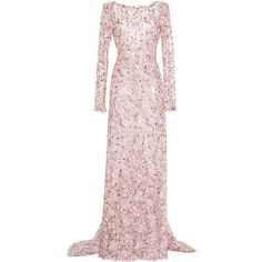Luisa Beccaria Tulle Embroidered Sheath Maxi Dress ($5,240) ❤ liked on Polyvore featuring dresses, gowns, long dresses, luisa beccaria, pink, pink floral dress, sheath dress, long floral dresses, pink evening gowns and pink gown