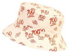 e7e6428d3ec Emoji 100 Print Bucket Hat White
