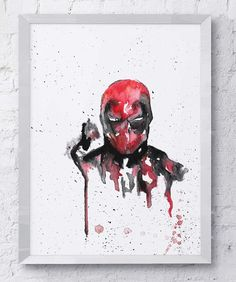 Deadpool, Marvel, Watercolor. Painting reprinted onto actual watercolor card, giving the original texture and feel of the painting itself.