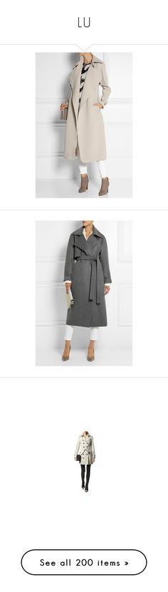 """""""LU"""" by duchessq ❤ liked on Polyvore featuring outerwear, coats, pink coat, beige coat, taupe coat, trench coat, beige trench coat, gray wool coat, woolen coat and antonio berardi"""