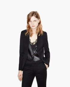 Suit jacket with detachable leather waistcoat - Jackets - The Kooples