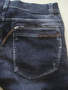 CUSTOM BY AGNA: Male Denim + leather + Rivets #jeans #denimart #denimcoulture