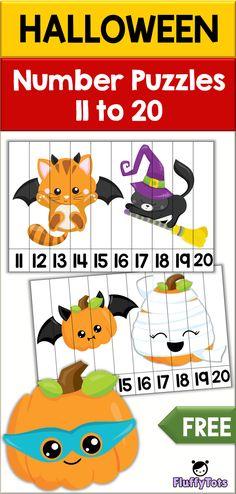 Halloween Number Puzzles : Exciting Activity for Teen Number - FluffyTots Fall Preschool, Preschool At Home, Preschool Themes, Preschool Math, Kindergarten Math, Maths, Activities For Teens, Teaching Activities, Halloween Activities