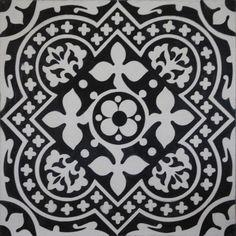 »Zementfliese Serie ARTE Blattornament schwarz/weiss« von Replicata - 300 x 300 x 20 mm - Replikate