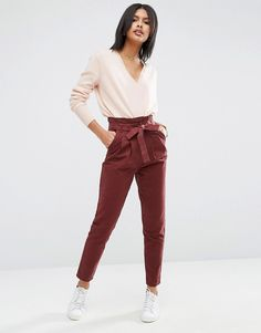 Image 1 of ASOS High Waist Paperbag Straight Leg Pants