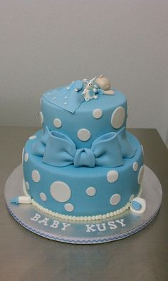 Publix Cake Designs For Baby Shower : Blue and White Baby Shower cake by Little Sugar Bake Shop ...